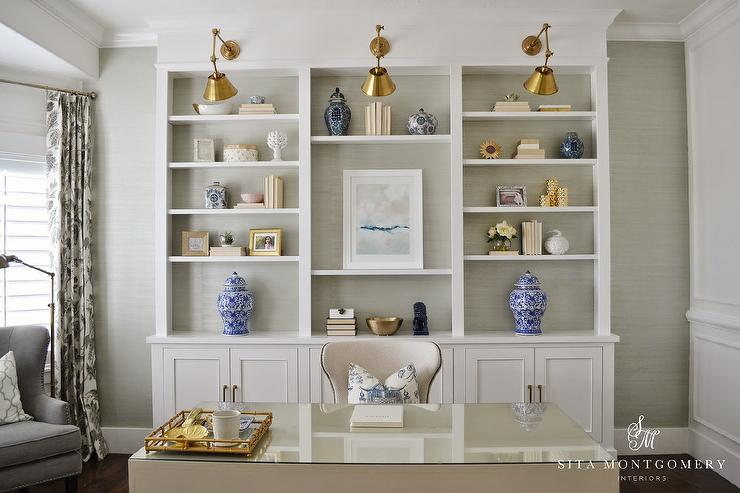 Shelves on gray background