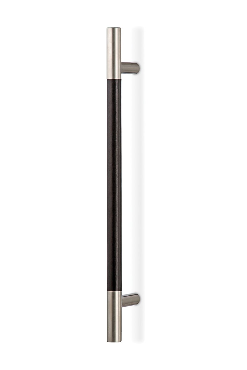 DH401-17/90 (Nickel with Black leather) Mockett Door Pull Door Hardware Leather Bar Door Handle
