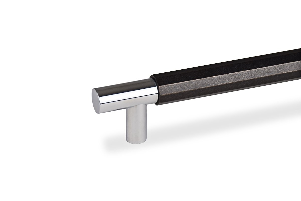 DP278-26/15 (Chrome/Black Bronze) Mockett Drawer Pull Cabinet Hardware Handle Aluminum Edge Pull