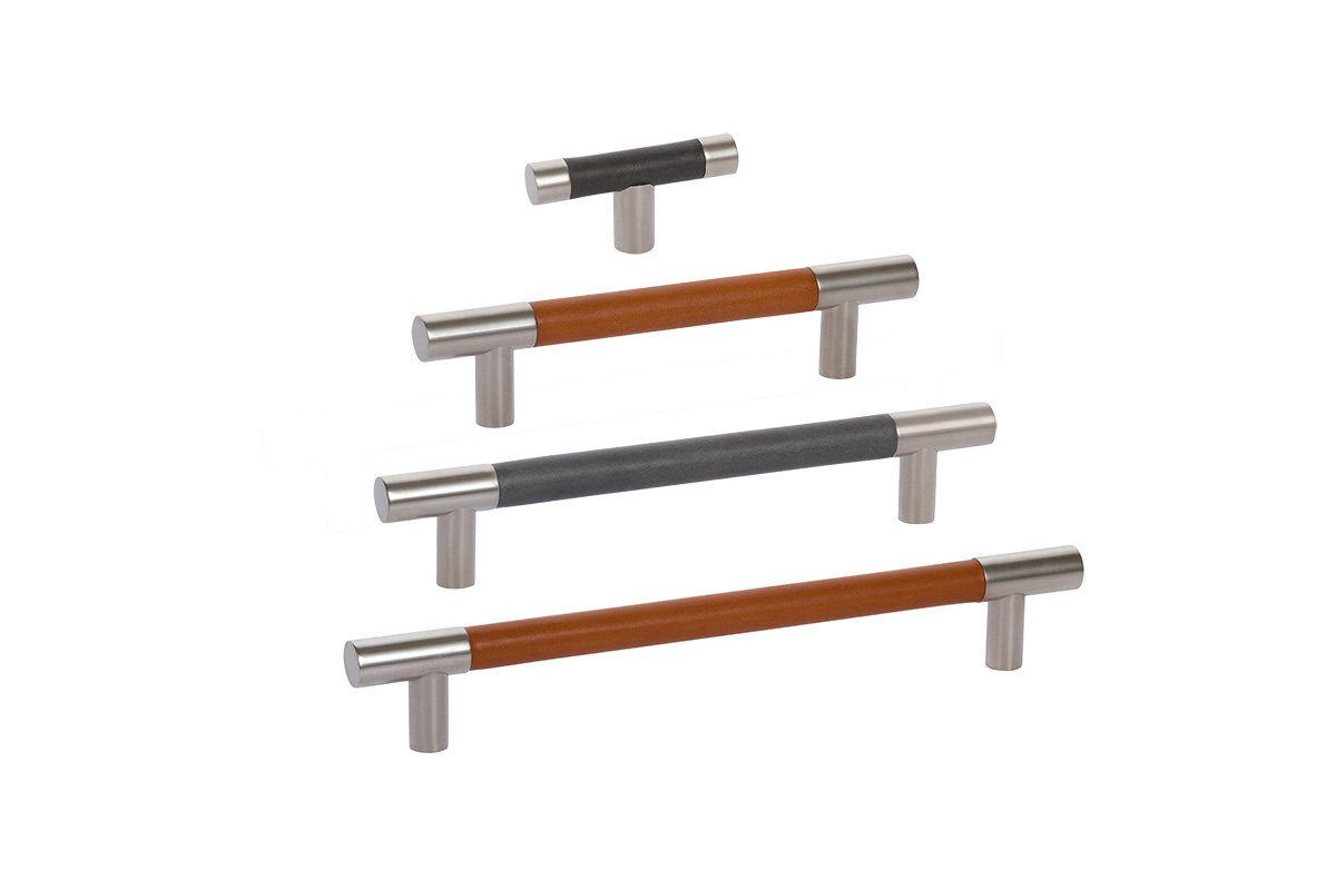 DP411 Mockett Drawer Pull Cabinet Hardware Leather Bar Pull