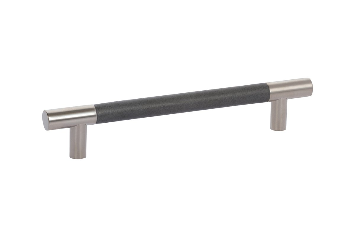DP411C-17/92G (Nickel/Charcoal) Mockett Drawer Pull Cabinet Hardware Leather Bar Pull