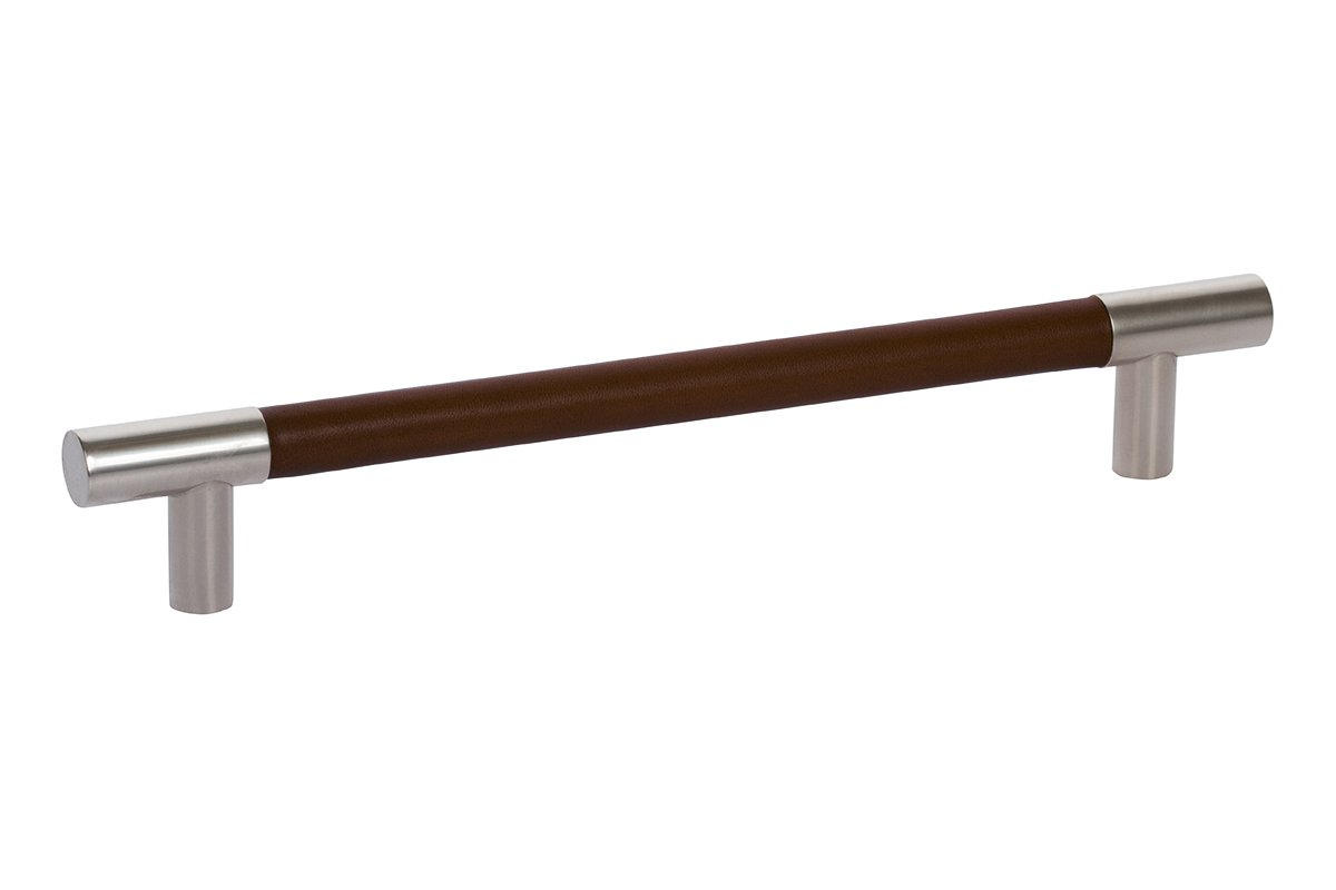 DP411D-17/91H (Nickel/Chocolate Brown) Mockett Drawer Pull Cabinet Hardware Leather Bar Pull
