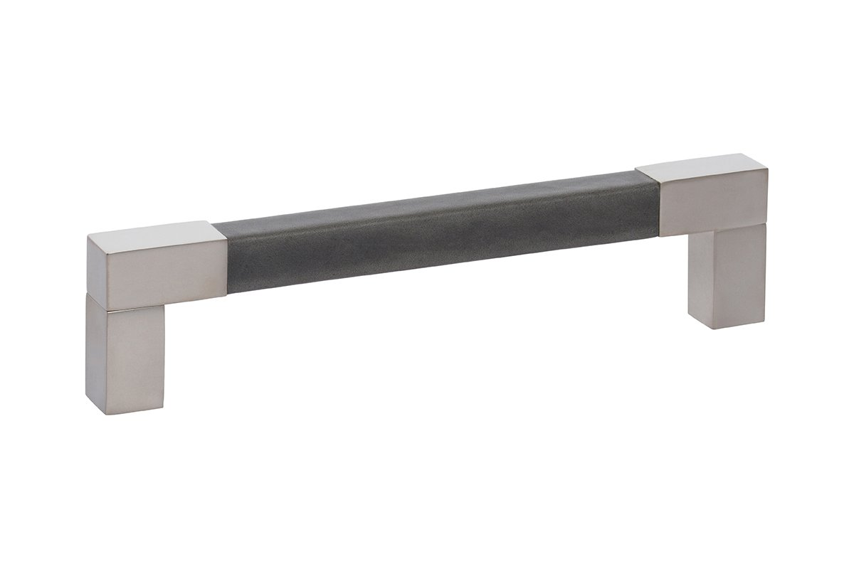 DP413C-17/92G (Nickel/Charcoal) Mockett Drawer Pull Cabinet Hardware Leather Bar Pull