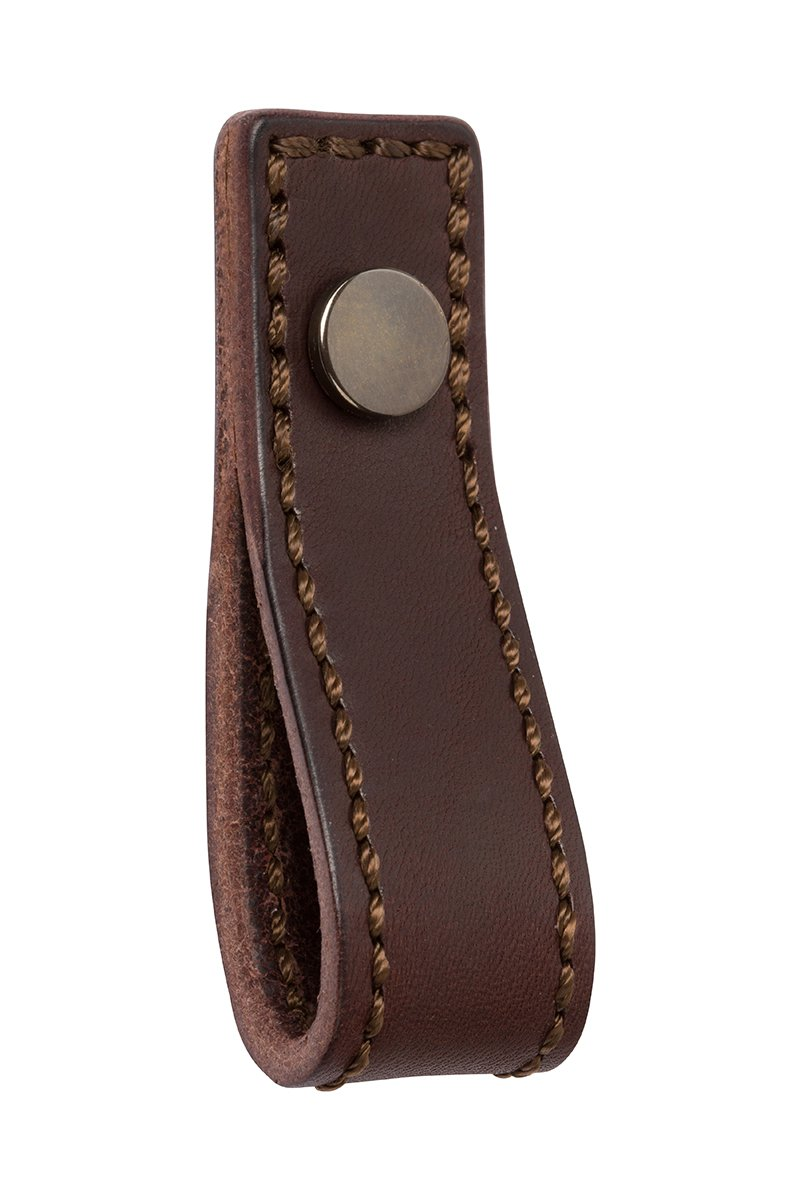 DP419-10B-91H (Antique Bronze/Chocolate Brown) Mockett Drawer Pull Cabinet Hardware Leather Strap Handle