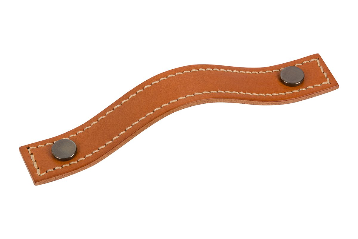 DP420B-10B/93T (Antique Bronze/Tan) Mockett Drawer Pull Cabinet Hardware Leather Pull Strap Handle