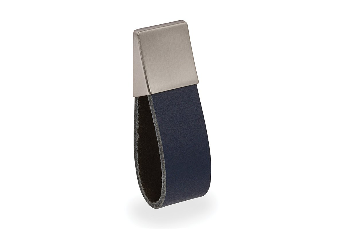 DP426-17S/62N (Satin Nickel/Navy Blue) Mockett Drawer Pull Cabinet Hardware Leather Strap Handle