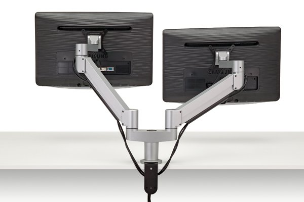 FSA3/2-23 (Metallic Silver) - Monitors not included Mockett Computer Monitor Stand for Desk Monitor Arm