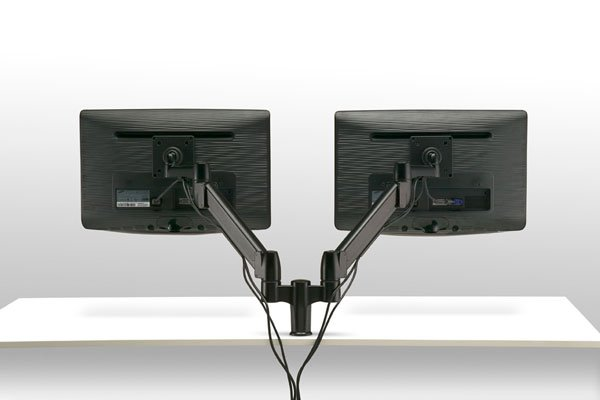 FSA1/2H (Matte Black) Mockett Dual Monitor Stand Computer Monitor Stand for Desk Monitor Arm