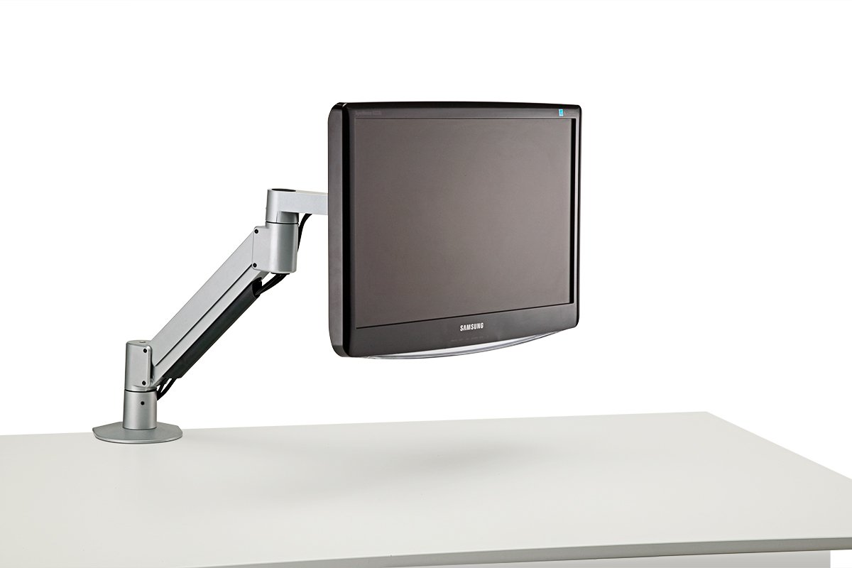 FSA3/M-23 (Metallic Silver) - In Use (Monitor Not Included) Mockett Computer Monitor Stand for Desk Monitor Arm