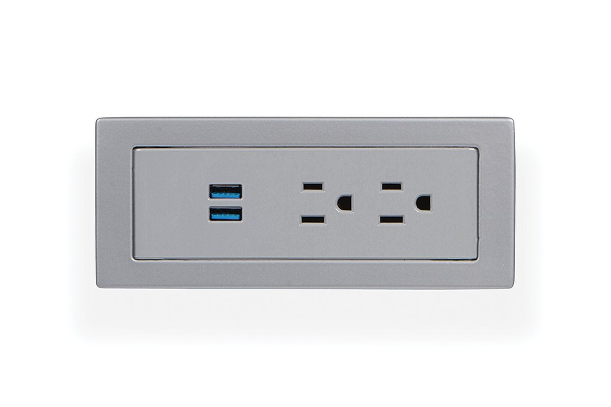 PCS100B-92 (Grey) mockett desktop power grommet outlet usb