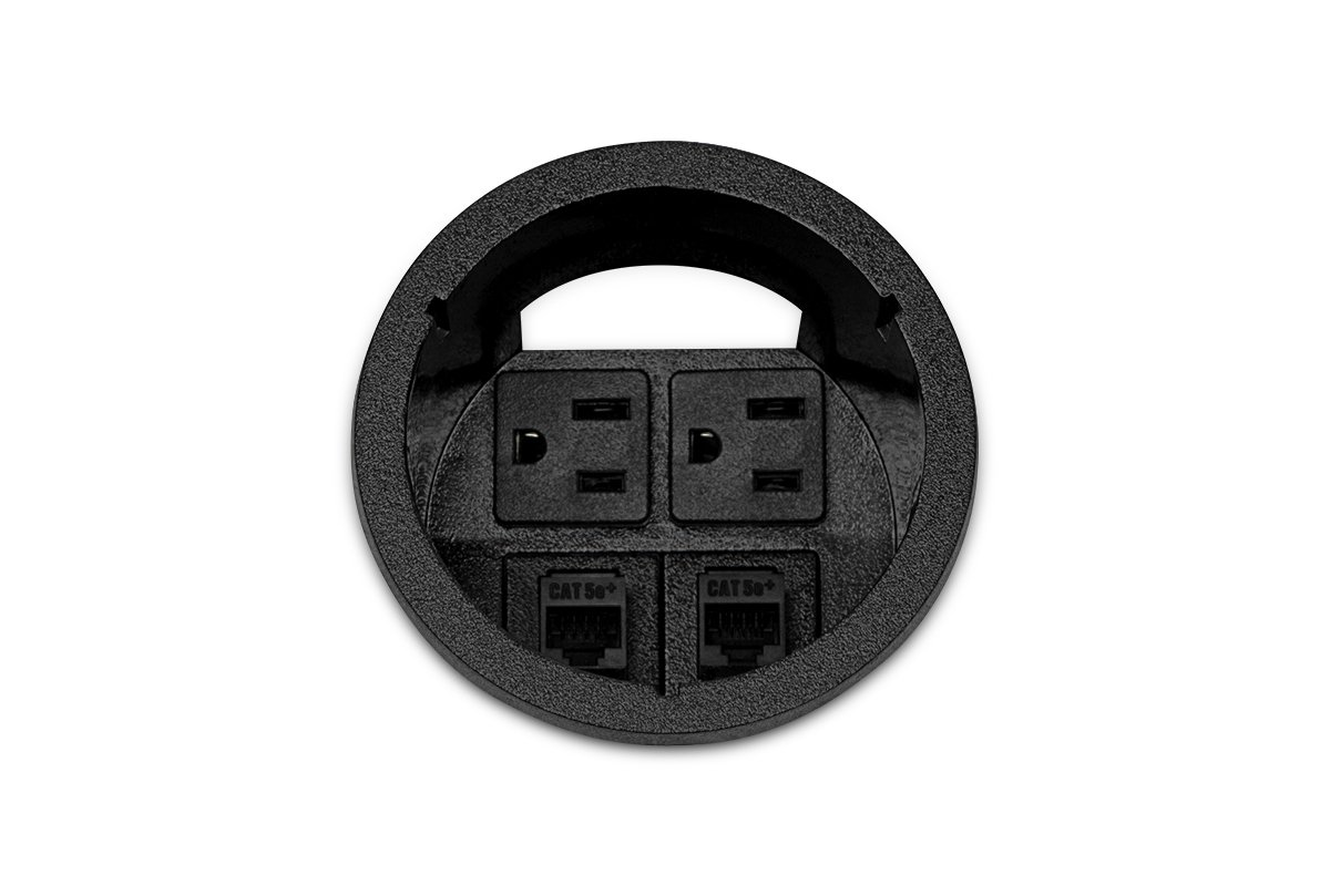 PCS1A-90 (Matte Black) mockett desktop power grommet outlet