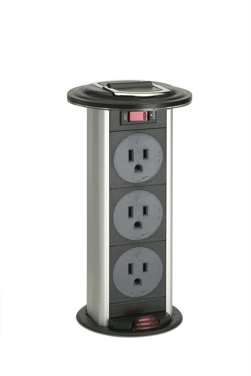 PCS34-90/90 (Black Trim Ring) pop up electrical outlet kitchen counter power