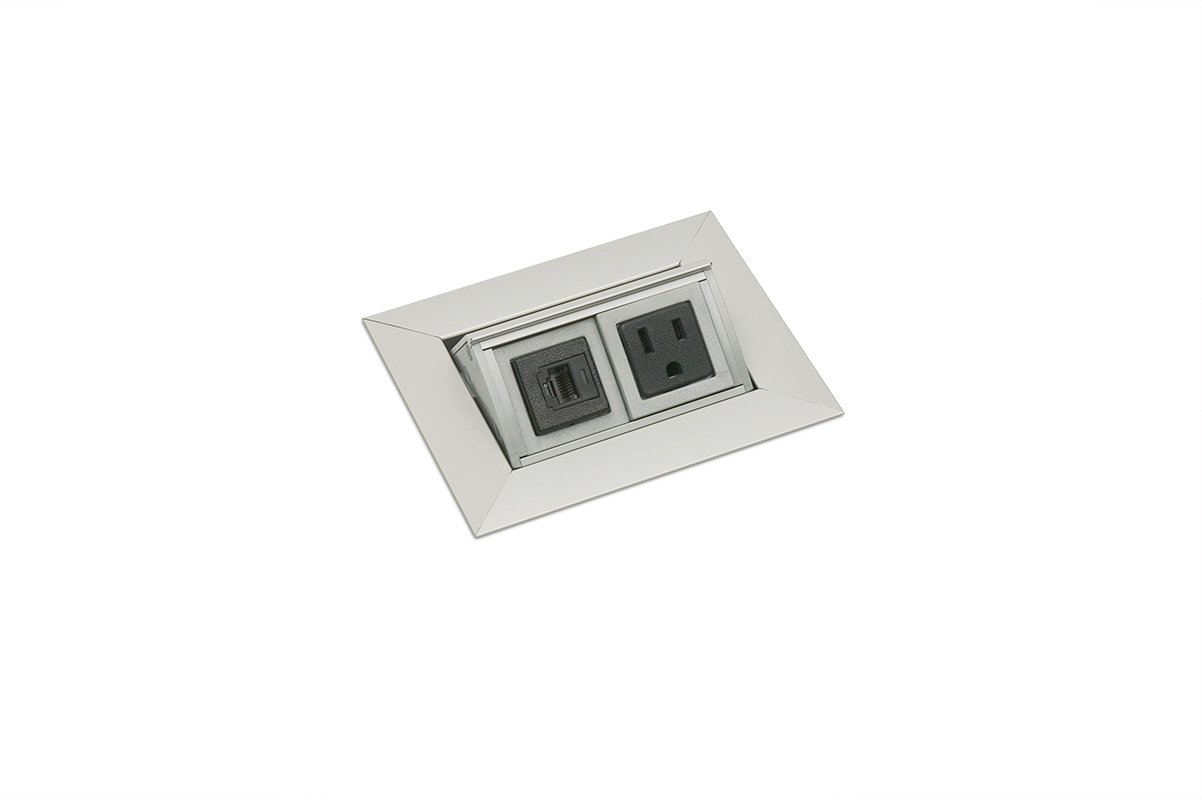 PCS36A-94 (Satin Aluminum) Open  mockett-pop-up-electrical-outlet-power-grommet-cat5-data