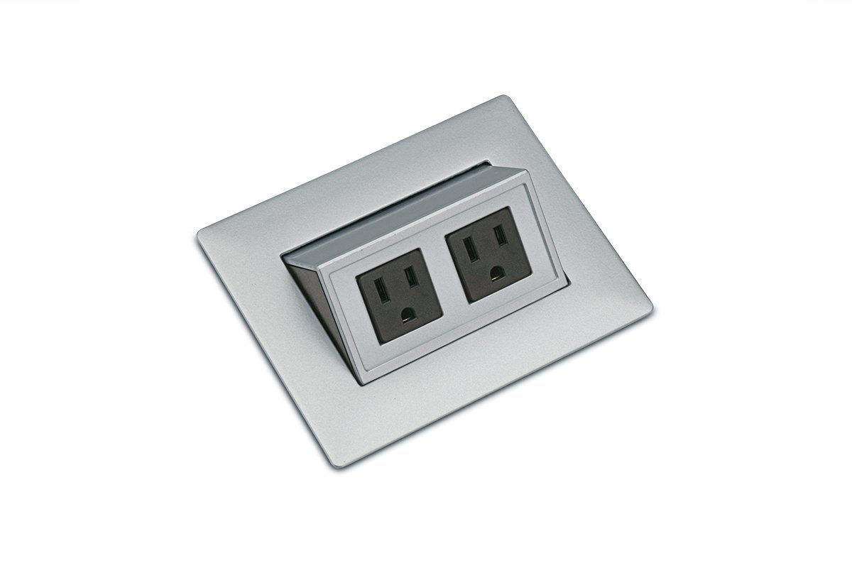 PCS43C/EE-23 (Metallic Silver) mockett pop-up electrical outlet power grommet