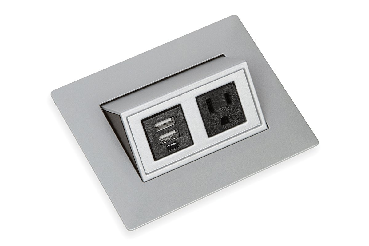 PCS43C/USB-23 (Metallic Silver) mockett pop-up electrical outlet power grommet usb