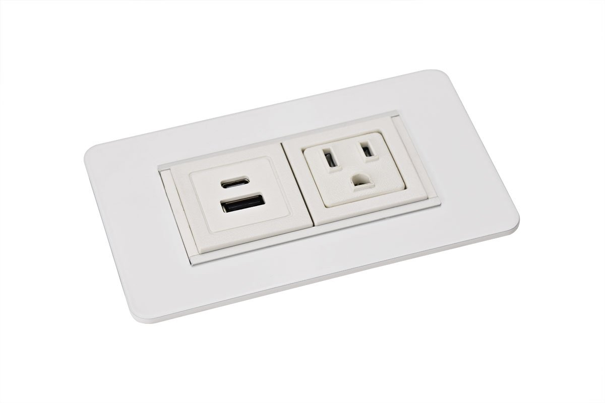 PCS49/USBAC-95 (White) mockett desktop power grommet outlet usb