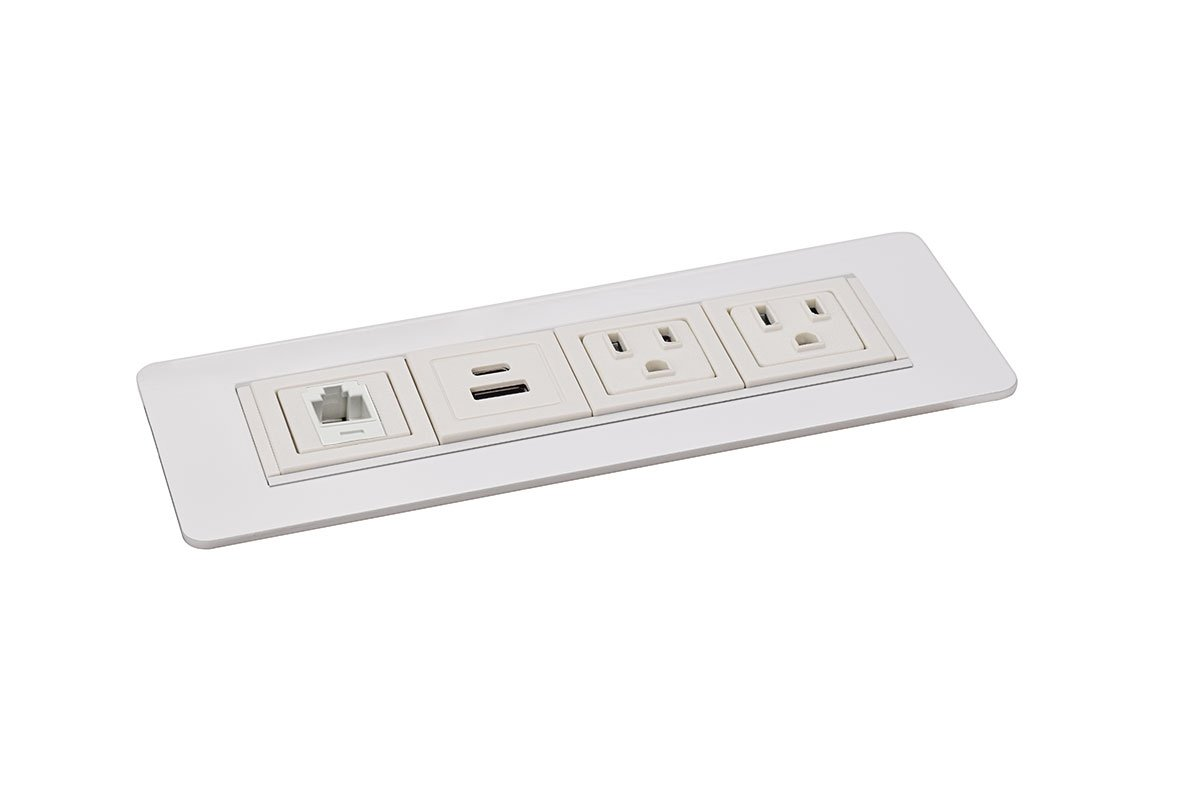 PCS49F-95 (White) mockett desktop power grommet outlet usb