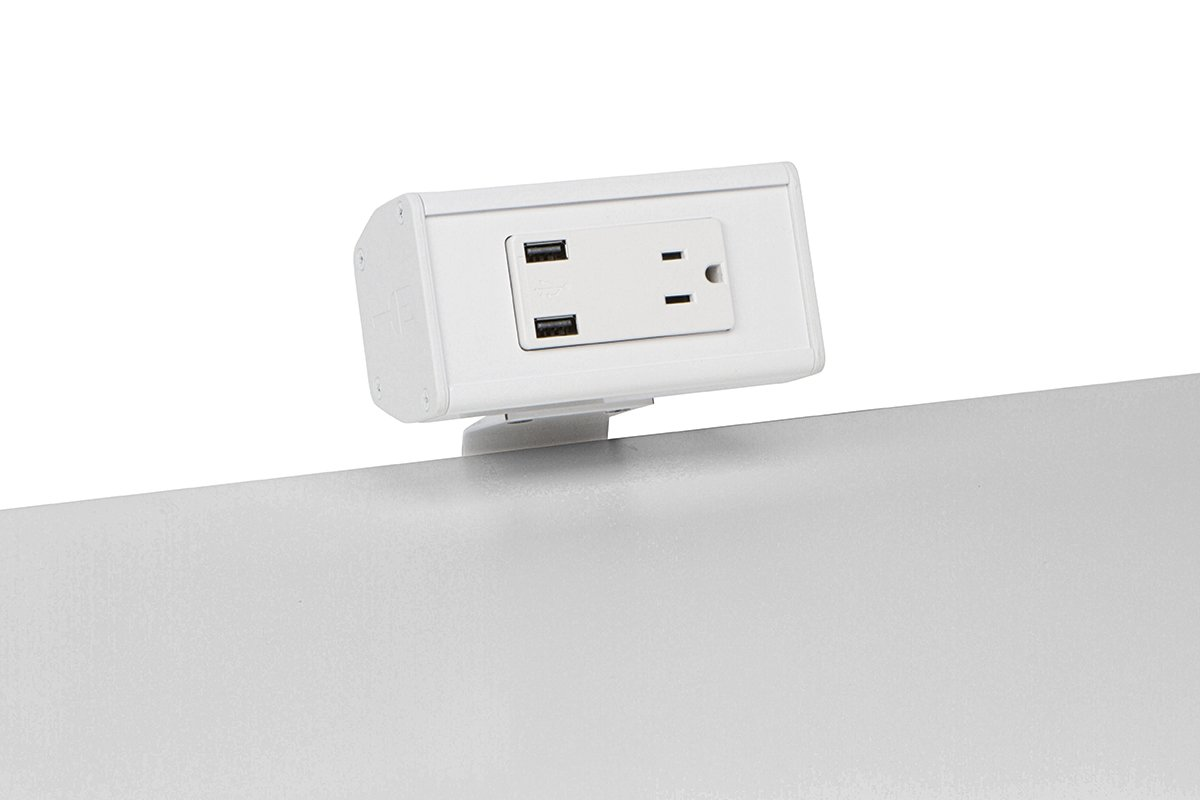 PCS61A-95 (White) desk mount electrical outlet edge mount power usb