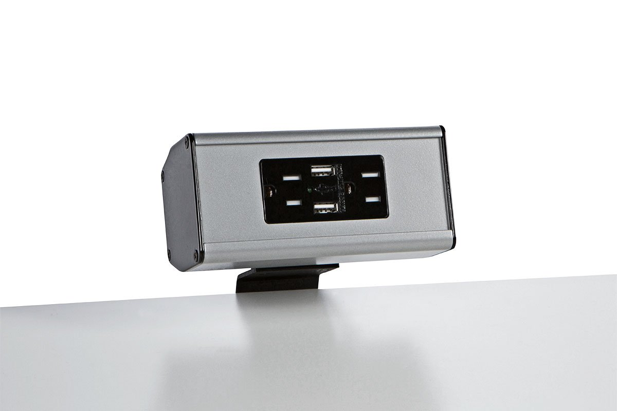 PCS61C-23 (Metallic Silver) desk mount electrical outlet edge mount power usb