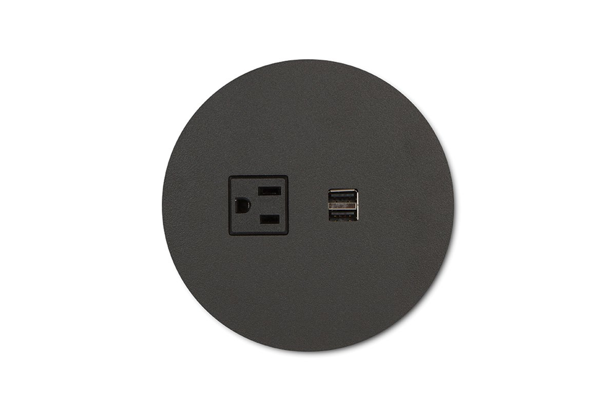 PCS62A/R-90 (Matte Black) mockett desktop power grommet outlet usb