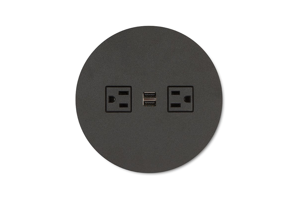 PCS62B/R/USB-90 (Matte Black) mockett desktop power grommet outlet usb