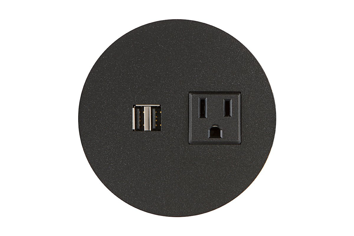 PCS62M/R/UE-90 (Black) mockett desktop power grommet outlet usb