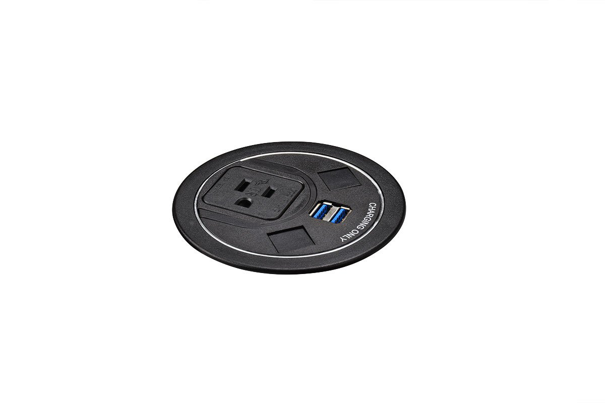 PCS63-90 (Black) mockett desktop power grommet outlet usb