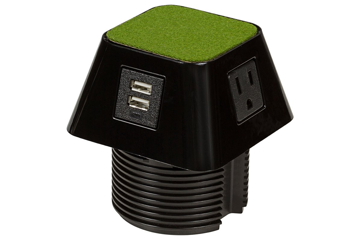 PCS66G/3/U1-90 (Shown with green top) mockett desktop power grommet outlet usb