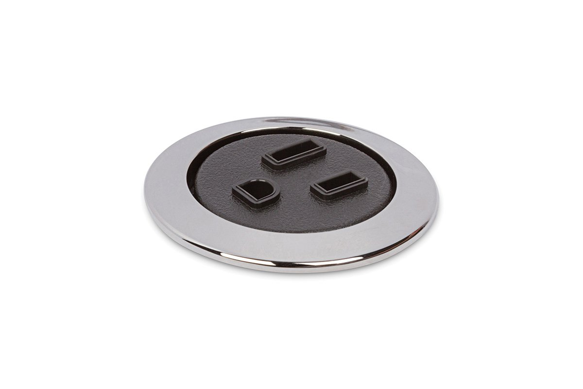 PCS75-26/90 (Polished Chrome/Black) mockett desktop power grommet outlet