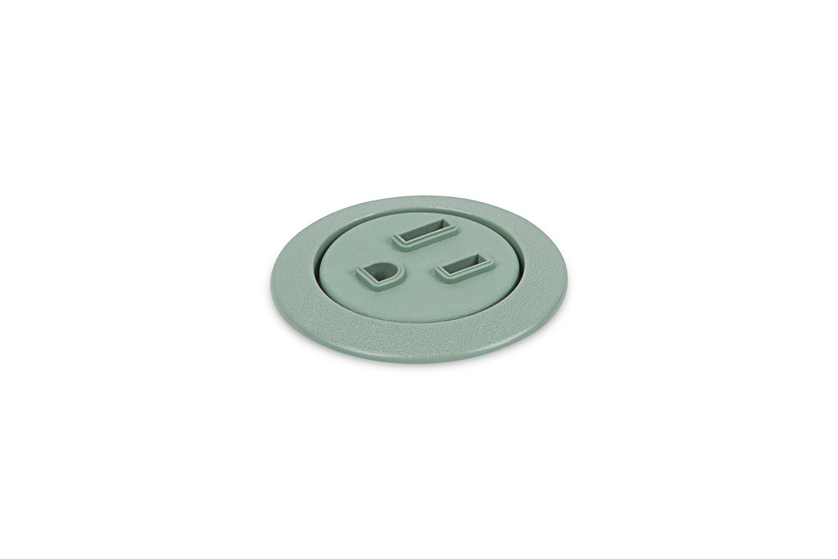 PCS75-60S (Slate Green) mockett desktop power grommet outlet