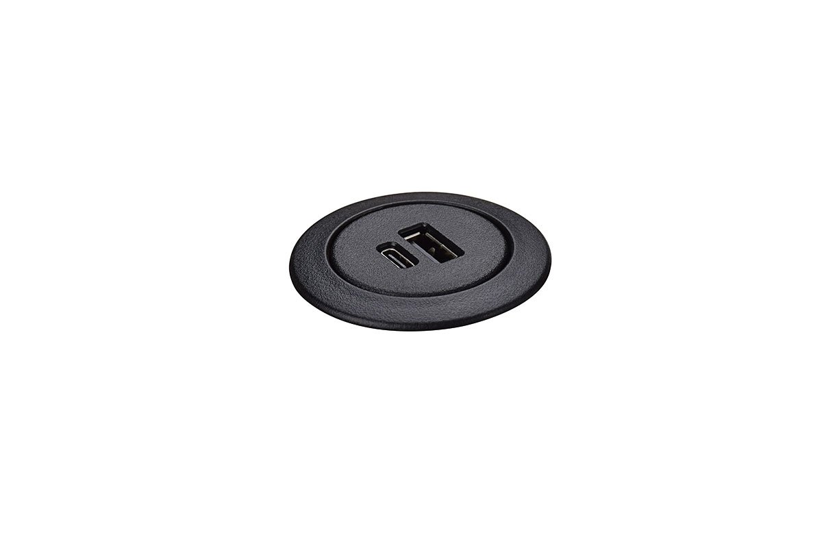 PCS75/USBAC-90 (Black) mockett desktop power grommet outlet usb