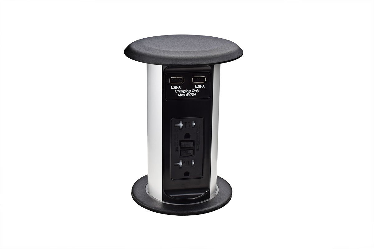PCS77A-90M (Matte Black) pop up electrical outlet kitchen counter power