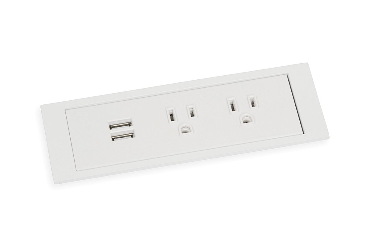 PCS85B/USB-95 (White) mockett desktop power grommet outlet usb