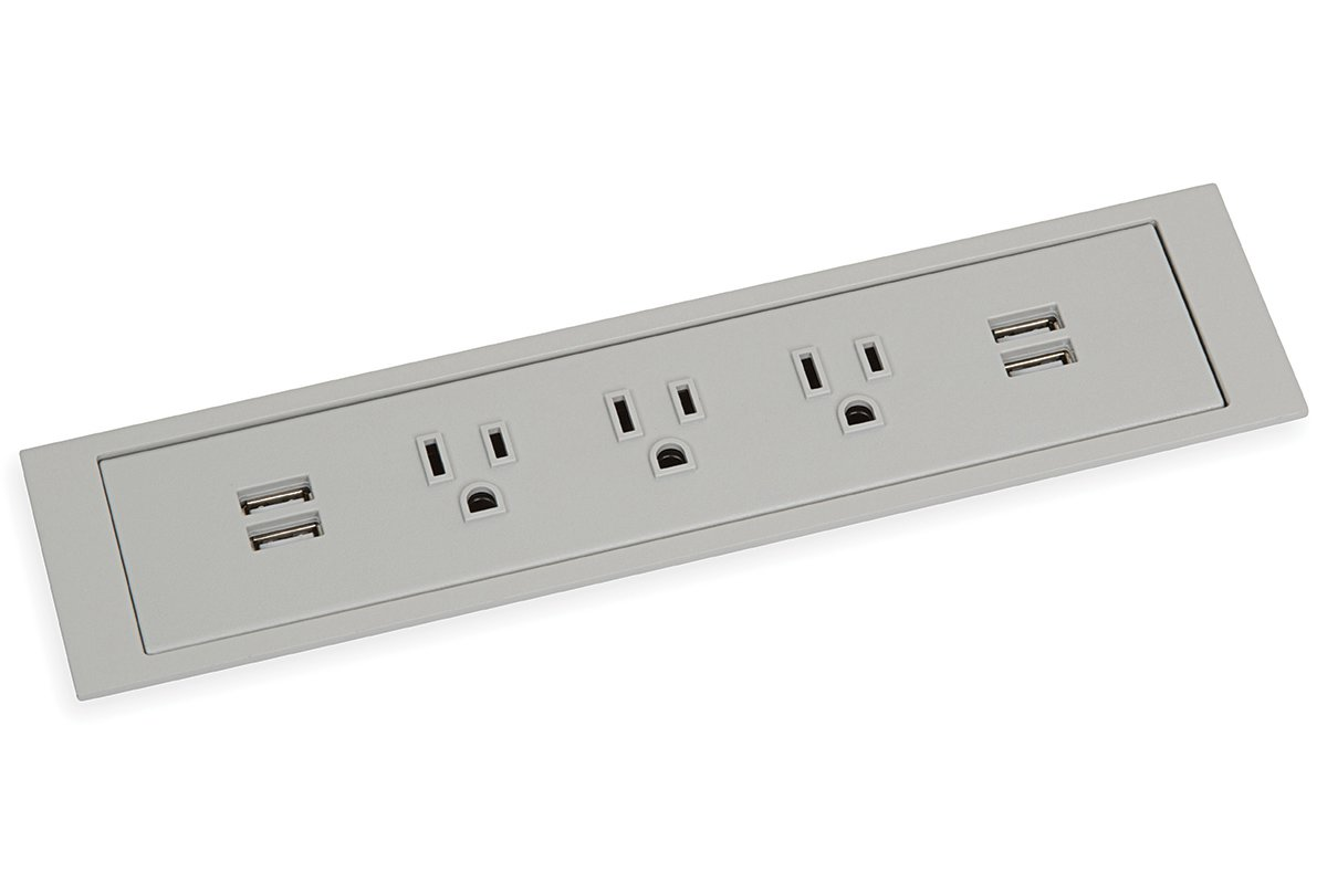 PCS85C/U2-92L (Light Grey) mockett desktop power grommet outlet usb