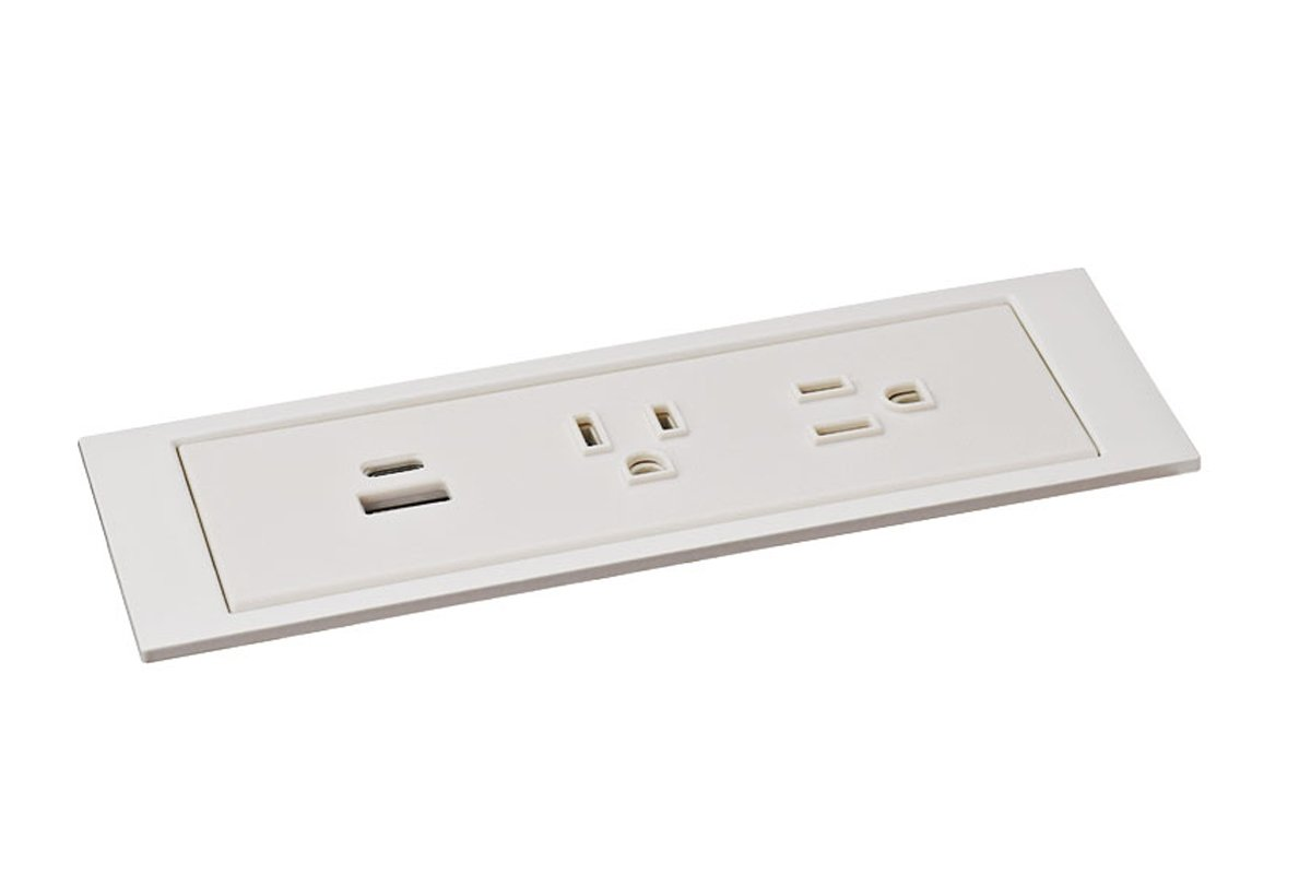 PCS85D-95 (White) mockett desktop power grommet outlet usb
