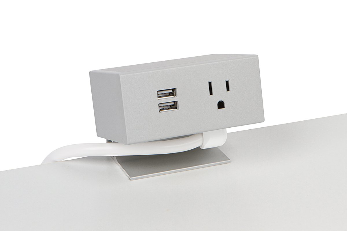 PCS86A/USB-92 (Grey) desk mount electrical outlet edge mount power usb