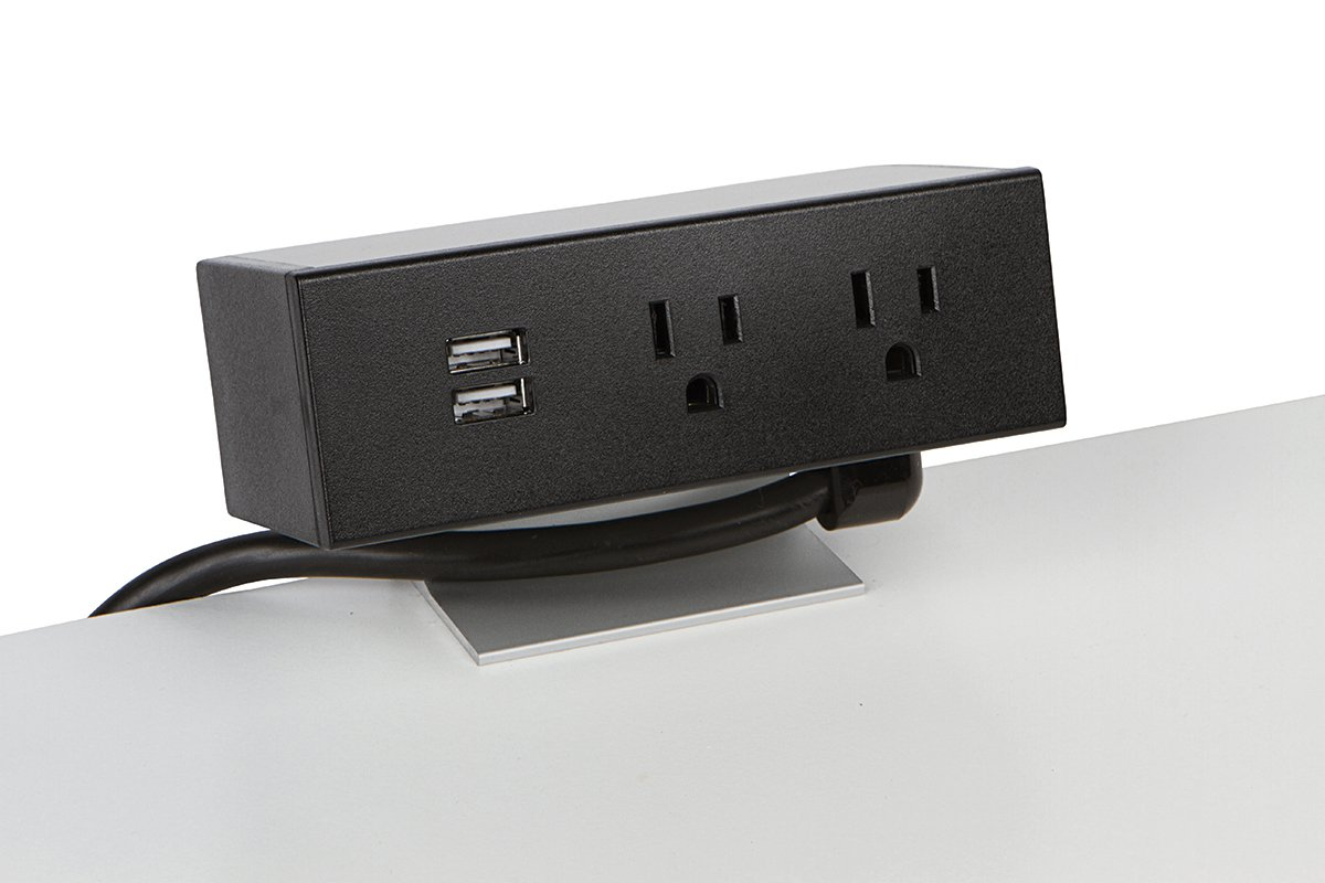 PCS86B/USB-90 (Matte Black) desk mount electrical outlet edge mount power usb