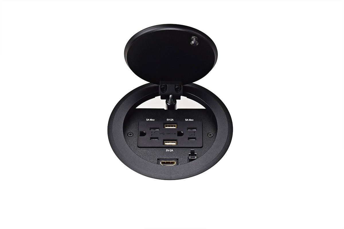PCS87/M/USB-90 (Black) mockett pop-up electrical outlet power grommet