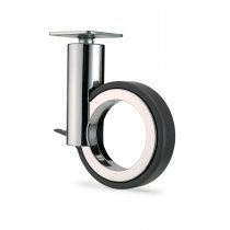 """5"""" Hollow Wheel Caster, Polished Chrome w/ Brake & Plate - 50% OFF!"""