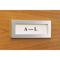 CF1-94 (Satin Aluminum) Mockett File Cabinet Label Card File Tag Holder