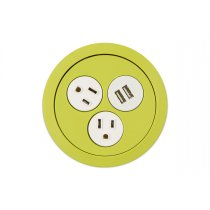 PCS73/USB-60C (Chartreuse) mockett desktop power grommet outlet usb