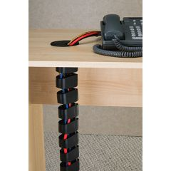 WM26-90 (Black), Shown with optional black EDP grommet Mockett Desk Cable Management Spine Wire Manager