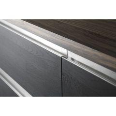 DP224-17S (Satin Nickel) - Installed Mockett Drawer Pull Cabinet Hardware Handle Aluminum Edge Pull