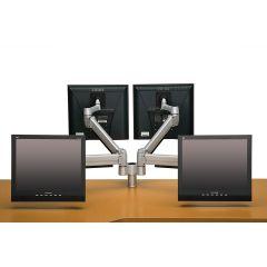 FSA1/4H-23 (Metallic Silver) Mockett Computer Monitor Stand for Desk Monitor Arm