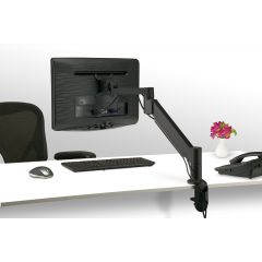 FSA3-90 (Matte Black) - In Use Mockett Computer Monitor Stand for Desk Monitor Arm