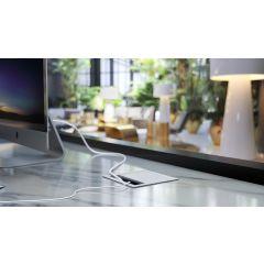 MAX2/A-94 (Satin Aluminum) Mockett Cable Management Desk Grommet Aluminum