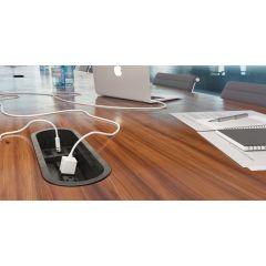 PCS3-90 (Matte Black) mockett desktop power grommet outlet