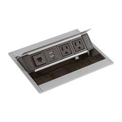 PCS50IU1-94/90 (Satin Aluminum with black plugs/black brush) mockett pop-up electrical outlet power grommet usb