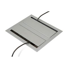 PCS54/2/C-94 (Satin Aluminum) In Use mockett desktop power grommet outlet