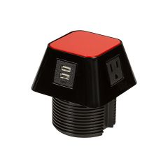 PCS66G/3/U1-90 (Shown with red top) mockett desktop power grommet outlet usb